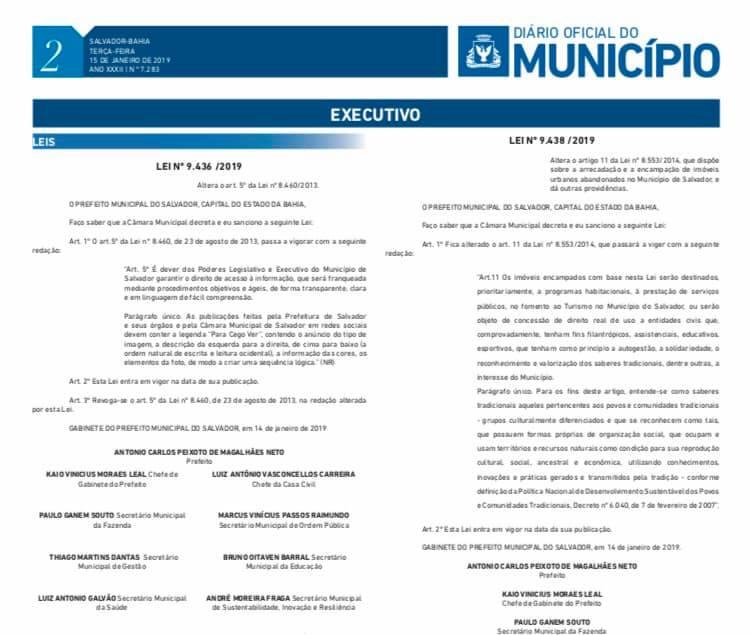 A Prefeitura de Salvador tornou obrigatório o uso da hastag  PraCegoVerem  todas as suas publicações, por meio da da Lei 9.436  2019 que altera o art. 75f010daa4